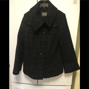 MACKAGE Plaid bell sleeves Coat wool leather Good